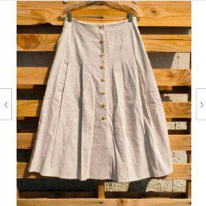 90s Spiegel Linen Blend Button Up Long Skirt 12P
